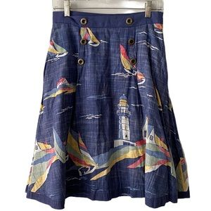 Anthropologie Odille Sail Boat Nautical Skirt